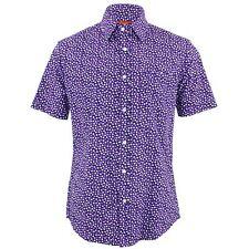 Hombre Chillón Camisa Ajuste a medida corazones Púrpura Blanco Retro Psicodélico