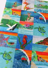 HAWAIIAN BEACH Hula Minky Wholecloth Quilt Top Mermaid Dancer Turtle Fabric Kit