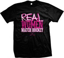 Real Women Watch Hockey Crossed Sticks Puck Goal Ice Rink Sports Mens T-shirt