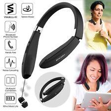 Wireless Sport Headset Neckband Retractable Stereo Headphone Earphone Earbud