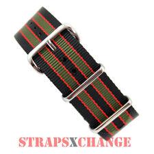 PREMIUM NATO® G10 BLACK GREEN RED Bond Military Diver's Watch Strap Band Khaki