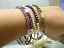 A set 5 untreated natural gem / Japanese Biwa freshwater pearl Slide on Bracelet