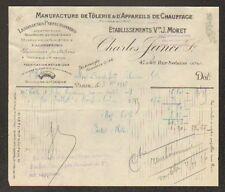 """PARIS (XI°) USINE de TOLERIE & APPAREILS DE CHAUFFAGE """"Charles JANCE"""" 1916"""