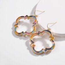 America Style Alloy Geometric Hollow Out Logo Tiger Eye Drop Earrings for Women