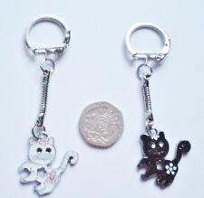 Nouveau Lucky noir ou blanc chat/chaton émail Porte-clés/Key Chain Cadeau/Cadeau