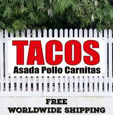 Banner Vinyl TACOS ASADA POLLO CARNITAS Advertising Sign Flag Farms Mexican Food