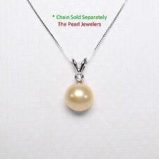 14k White Gold Rabbit-Ear Bail Diamond AAA 10mm Pink Cultured Pearl Pendant TPJ