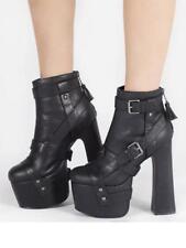 YRU Stardust Bondage Black Emo Punk Goth Rock Tattoo Womens Platform Heel Shoes