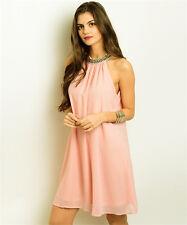 GRIFFLIN Dusty Pink Shoulderless Choker Summer Beach Party Dress - S, M, L