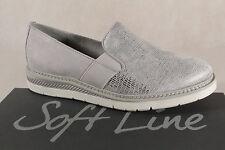 Jana Soft Line Damen Slipper, grau silber, weiche Innensohle, Weite H 24565 NEU!