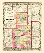 Old County Map - Bond, Clinton, Washington Illinois - Cambell 1870 - 23 x 27.76