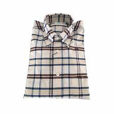 BROOKS BROTHERS camisa de hombre cuadros ecru/marrón oscuro/azul 100 % algodón