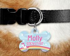 Personalised Pet ID Tag - ID Tag - Dog Tag - Bone Tag - Blue Unicorn Rainbow