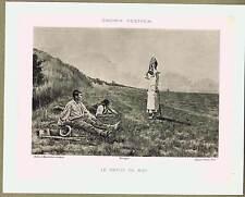 Mid-Day Rest - Farm Scene -Casimir Destrem -1880s Art Collotype Print