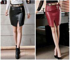 Damen Leder Look Lang Rock schwarz rot Business Bleifstift XS S  34 36 38 FERANI