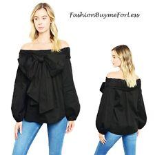 Haute BOHO Black Victorian Goth Bow Tie Off Shoulder Peasant Shirt Top S M L XL