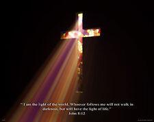 Religious Motivational Poster Art Print Pastor Church Jesus John 8:12 RELG04