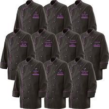 Kochjacke Bäckerjacke schwarz weiße Paspel Kochknöpfe weiß bestickt mit Name