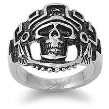 Mens Heavy Indian Skull Biker Ring Stainless Steel Band New USA 24mm Sizes 9-15