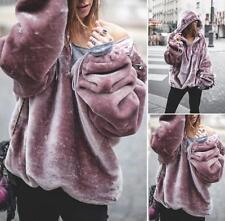 Spring Women's Thick Velvet Hooded Jumper Long Sleeve Hoodie Sweatshirt Tops 2XL