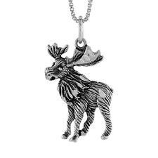 "Sterling Silver Moose Pendant / Charm, 18"" Italian Box Chain"