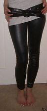 Full HIGH RISE  Length Leggings WET Leather LOOK PVC Black  8 10 12 14 16 18