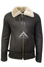 Men's Brown/Beige fur Shearling Sheepskin WW 2 Fur Leather Flying Aviator Jacket