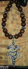 In Car Hanging Registered Nurse RN Pendant Wooden Beads Caduceus Medical Symbol