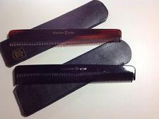 Kamm-Etui Leder schwarz mit Kamm handgemacht gesägt schwarz oder braun ca 16 cm