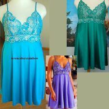 New Plus Size Jade Green cross dye lace bodice chemise 1X 2X 3X LINGERIE T6388