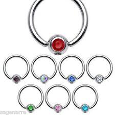 1 x16g-10mm Steel Captive Bead Ring CBR with Assorted colour Gems Eyebrow-Tragus