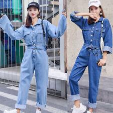 New Womens Denim Jumpsuit Vintage Coveralls Romper Playsuit Jeans Loose Casual