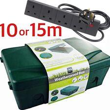 Outdoor 4 Socket 5m 10m 15m Extension Lead Electrical Enclosure Weatherproof Box