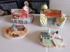 4 x Sebastian Miniatures Covered Bridge 1954 church+