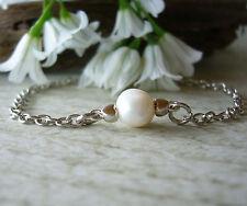 Floating Single Pearl Bracelet Bridesmaid Wedding Flower Girl 1st Communion Gift