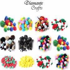 Pompones Mezclados Diseños/tamaños-Brillo A Rayas Lanudo Llano-Craft Fluffy