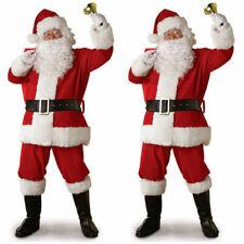 5PCS Christmas Santa Claus Costume Fancy Dress Adult Men Suits Cosplay Outfits