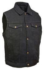Mens Classic Snap Front Black Denim Vest with Shirt Collar & Gun Pockets