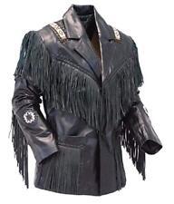 Bestzo Mens Western Cowboy Real Leather Motorbike Jacket Fringed /& Boned Black XS-5XL