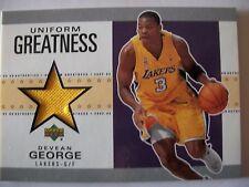 02-03 UD Authentics Uniform Greatness DEVEAN GEORGE , LAKERS, BOX # 46
