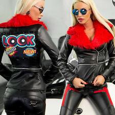 Damenjacke Mantel Blazer Übergangsjacke Lederlook mit Fell 32 - 38 #O116