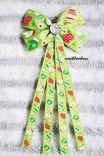 CHRISTMAS Green Mittens Handmade Girl Hair Accessories Ribbon Bow Clip Bobble