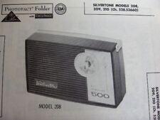 SILVERTONE 208, 209, 210 TRANSISTOR RADIO PHOTOFACT