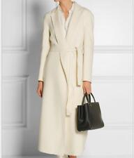 womens winter wool parka  jacket autumn wool belt coat outwear trench