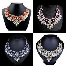 Fashion Rhinestone Crystal Chunky Statement Bib Pendant Chain Choker Necklace SP