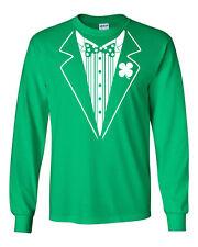 272 Leprechaun Tuxedo Long Sleeve Shirt funny St. Patrick's Day drunk beer new