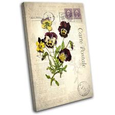 Purple Vintage Shabby Chic Floral SINGLE TOILE murale ART Photo Print