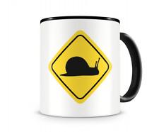 Schnecken Warnschild Tasse Kaffeetasse Teetasse Kaffeepott Kaffeebecher Becher