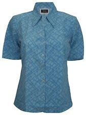 Simon Jersey Manga Corta Abiertas Cuello Blusa Azul