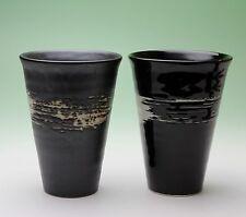 Pottery Tumbler Handleless Mug Interior Spiral Exterior Brush Stroke Japan NEW